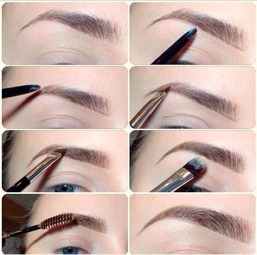 Процесс макияжа для бровей