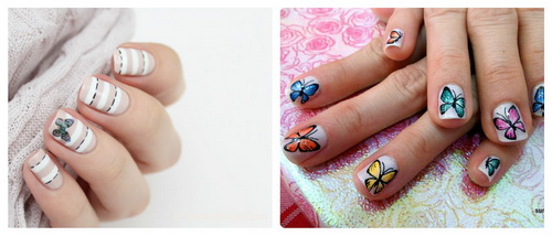 2 вариант маникюра с бабочками
